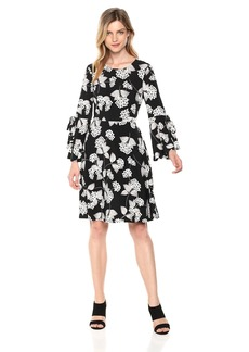 Nine West Women's 3/4 FIT & Flare Dress with Bow Detail at Sleeves