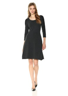 Nine West Women's 3/4 Fit & Flare Dress with Lace Detail at Sleeve  S
