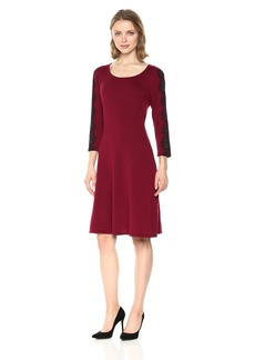 Nine West Women's 3/4 Fit and Flare Dress With Lace Detail AT Sleeve  L