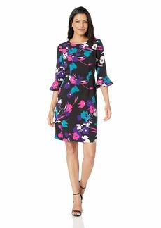 NINE WEST Women's 3/4 Ruffle Sleeve Sheath Dress
