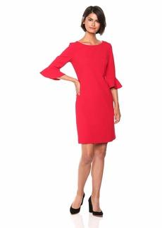 Nine West Women's 3/4 Ruffle Sleeve Solid Sheath Dress
