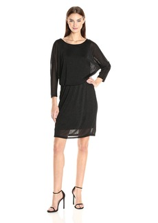 Nine West Women's 3/4 Shimmer Slv Dolman Blouson Dress
