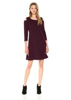Nine West Women's 3/4 Sleeve a-Line Cold Shoulder Dress  M