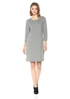 Nine West Women's 3/4 Sleeve a-Line Dress with Button Detail AT Pocket  L