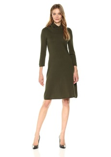 Nine West Women's 3/4 Sleeve A-line Dress with Ribbed Cowl & Trims  XL