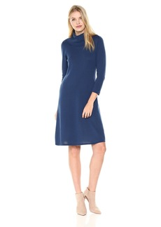 Nine West Women's 3/4 Sleeve A-line Dress with Ribbed Cowl & Trims  M