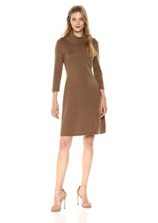 Nine West Women's 3/4 Sleeve a-Line Dress With Ribbed Cowl and Trims  M