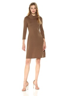Nine West Women's 3/4 Sleeve a-Line Dress with Ribbed Cowl and Trims  XL
