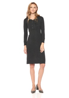 Nine West Women's 3/4 Sleeve Athleisure Dress With Lace up Rib Trim Detail  S