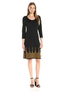 Nine West Women's 3/4 Sleeve Double Jacquard Dress with Flared Hem  S