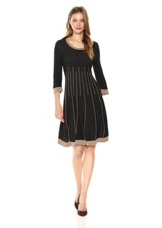 Nine West Women's 3/4 Sleeve Double Jacquard Fit and Flare Dress  M
