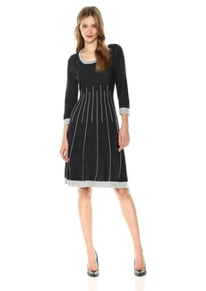 Nine West Women's 3/4 Sleeve Double Jacquard Fit and Flare Dress  S