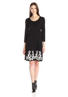Nine West Women's 3/4 Sleeve Double Jacquard Sweater Dress