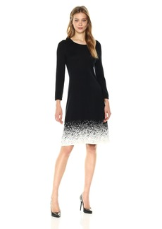 Nine West Women's 3/4 Sleeve Fit and Flare Dress With Double Jacquard Black/Ivory S