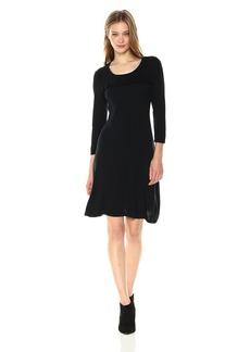 Nine West Women's 3/4 Sleeve Fit and Flare Dress with Ruffle Detail  M
