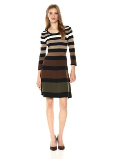 Nine West Women's 3/4 Sleeve Fit and Flare Multi Color Striped Dress Black/Army M