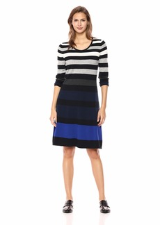 Nine West Women's 3/4 Sleeve Fit and Flare Striped Dress  XL