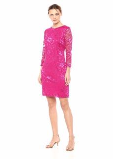 Nine West Women's 3/4 Sleeve Lace Shift Dress
