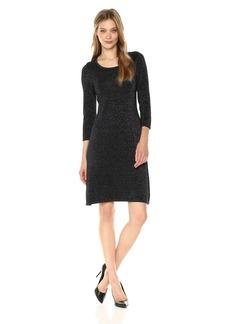 Nine West Women's 3/4 Sleeve Metallic A-line Dress  M