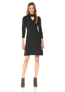 Nine West Women's 3/4 Sleeve Mock Neck Dress with Keyhole Detail  M