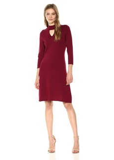 Nine West Women's 3/4 Sleeve Mock Neck Dress With Keyhole Detail  XL