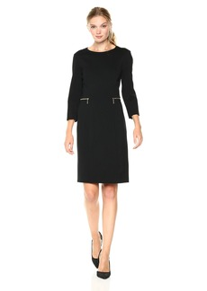 Nine West Women's 3/4 Sleeve Ponte Dress with Zip Pockets
