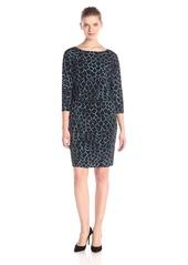Nine West Women's 3/4 Sleeve Printed Blouson Dress