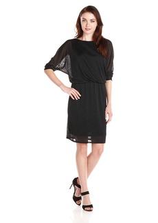 Nine West Women's 3/4 Sleeve Shimmer Mesh Blouson Dress