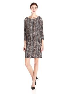 Nine West Women's 3/4 Sleeve Snake Tweed Jersey Blouson Dress