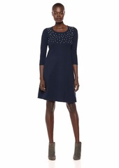 Nine West Women's 3/4 Sleeve Sweater Dress with Pearl Details  S