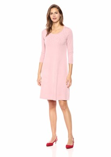 Nine West Women's 3/4 Sleeve Sweater Dress with Pearl Details  XS