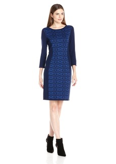 Nine West Women's 3/4 Sleeve Sweater Dress with Printed Detail