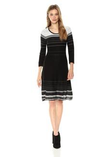 Nine West Women's 3/4 Sleeve Verigated Stripe Dress Black/Ivory S