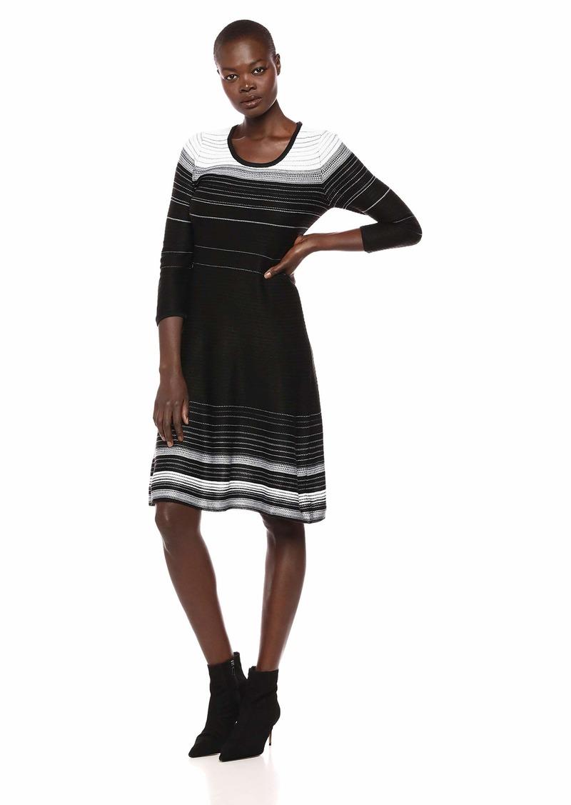 Nine West Women's 3/4 Sleeve Verigated Stripe Sweater Dress  L