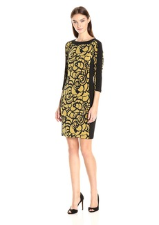 Nine West Women's 3/4 Slv Boatneck Shift Dress with Solid Combo
