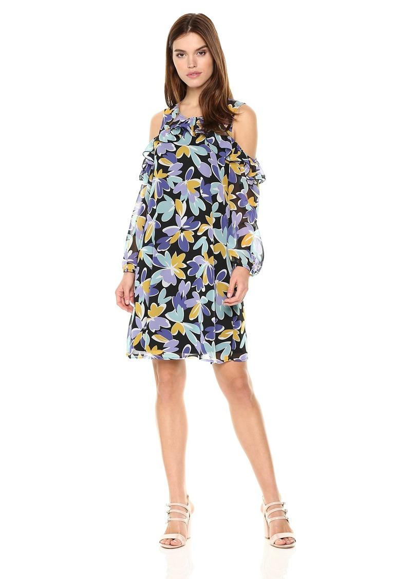 Nine West Women's 3/4 SLV Cold Shoulder Shift Dress W/Ruffle Detail