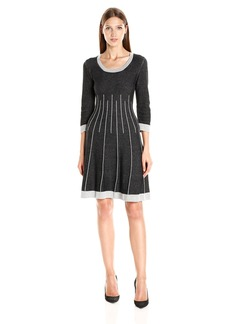 Nine West Women's 3/4 Slv Crew Neck Double Jacquard Fit and Flare Dress  S
