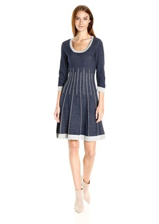 Nine West Women's 3/4 Slv Crew Neck Double Jacquard Fit and Flare Dress  XS