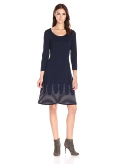 Nine West Women's 3/4 lv DBL Jacquard Dress With Detailed Flared Hem
