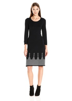 Nine West Women's 3/4 Slv Dbl Jacquard Dress W/ Detailed Flared Hem  M