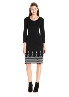 Nine West Women's 3/4 SLV DBL Jacquard Dress with Detailed Flared Hem Black/Ivory M