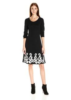 Nine West Women's 3/4 Slv Dbl Jacquard Dress with Flared Hem Black/Ivory S