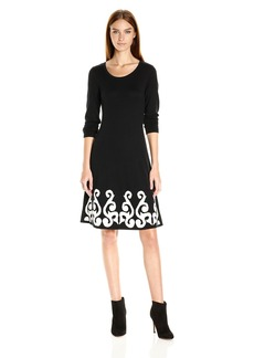 Nine West Women's 3/4 Slv Dbl Jacquard Dress with Flared Hem Black/Ivory XS