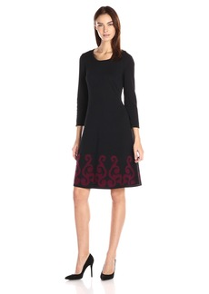 Nine West Women's 3/4 Slv Dbl Jacquard Dress with Flared Hem Black.Wine XS