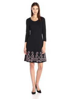 Nine West Women's 3/4 Slv Dbl Jacquard Dress with Flared Hem  M