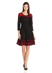 Nine West Women's 3/4 SLV Fit & Flare Verigated Stripe Dress Black/fire Red XS