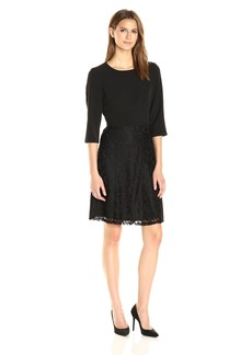Nine West Women's 3/4 Slv Fit and Flare Dress