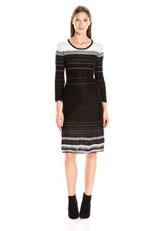 Nine West Women's 3/4 Slv Fit and Flare Verigated Stripe Dress  L
