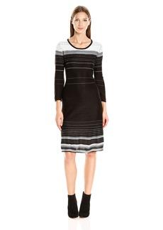 Nine West Women's 3/4 Slv Fit and Flare Verigated Stripe Dress  M