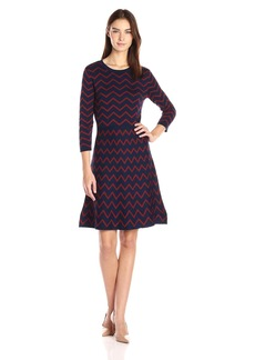 Nine West Women's 3/4 Slv Fit&Flare Chevron Dress  M
